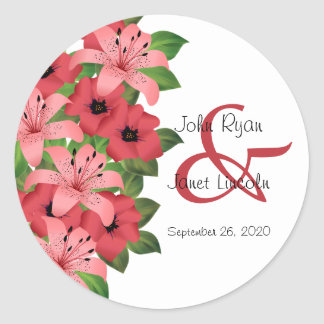 Cranberry Pink Flower Wedding Design Classic Round Sticker