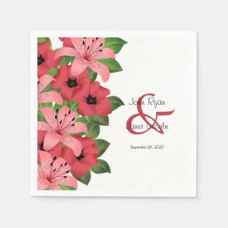 Cranberry Pink Flower Wedding Design Disposable Napkin
