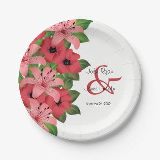 Cranberry Pink Flower Wedding Design Paper Plate