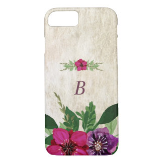 Cranberry-Plum Floral Monogram iPhone 7 Case