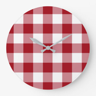 Cranberry Red and White Checked Gingham Pattern Large Clock