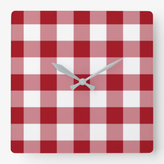 Cranberry Red and White Checked Gingham Pattern Square Wall Clock