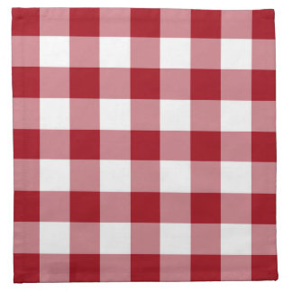 Cranberry Red And White Checks Gingham Pattern Napkin