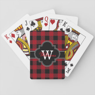 Cranberry Red Black Buffalo Check Plaid 1IQN Playing Cards