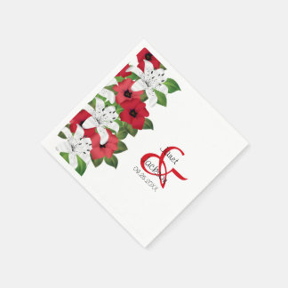 Cranberry Red Floral Flowers Disposable Napkin