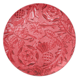 Cranberry Red Floral Plate