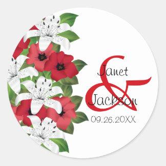 Cranberry Red Flower Classic Round Sticker