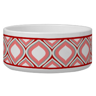 Cranberry Red Ogee Ceramic Dog Bowl