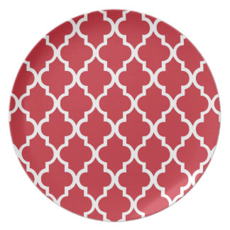 Cranberry Red Quatrefoil Tiles Pattern Plate