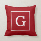 Cranberry Red White Framed Initial Monogram Throw Pillow