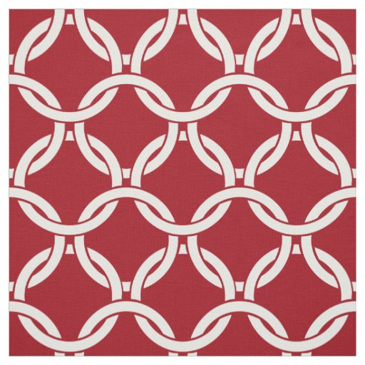 Cranberry Red, White Linked Circles Pattern #1 Fabric