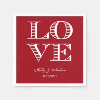 Cranberry Red, White LOVE Napkins Paper Napkin