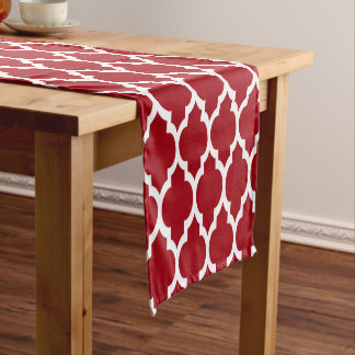 Cranberry Red White Moroccan #4LG Pattern Short Table Runner