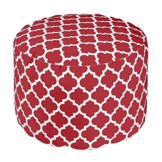 Cranberry Red White Moroccan Quatrefoil Pattern #5 Pouf