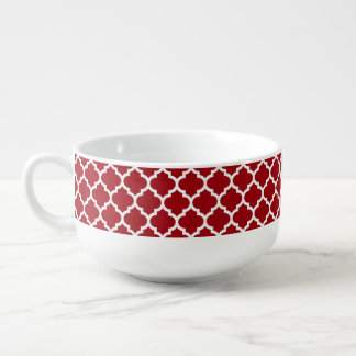 Cranberry Red White Moroccan Quatrefoil Pattern #5 Soup Mug