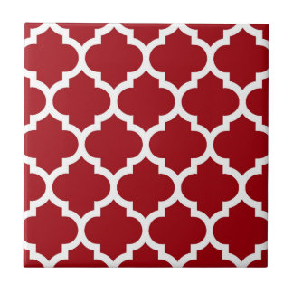 Cranberry Red White Moroccan Quatrefoil Pattern #5 Tile