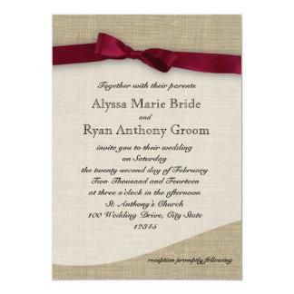 Cranberry Ribbon and Burlap Wedding Card
