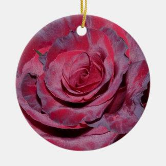 Cranberry Rose Ceramic Ornament