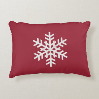 Cranberry Snowflake Accent Pillow