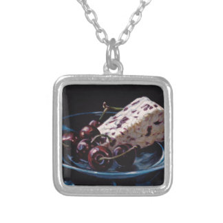Cranberry Stilton with Cherries Silver Plated Necklace