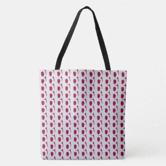 Cranberry & White Modern Look Tote Bag