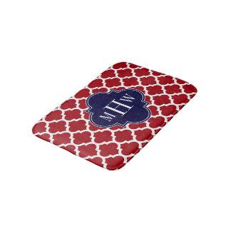 Cranberry Wht Moroccan #5 Navy 3 Initial Monogram Bath Mat