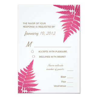 """Cranberry Woodland Wedding Fern with Meal Options 3.5"""" X 5"""" Invitation Card"""