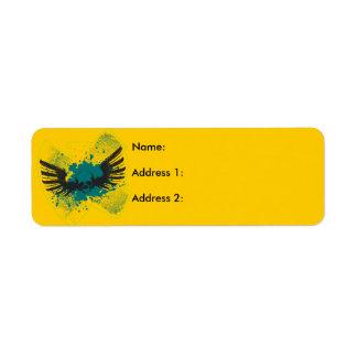 Crâne à ailes étiquette d'adresse retour