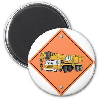 Crane Cartoon Construction Sign 2 Inch Round Magnet