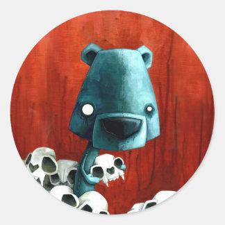 Crâne d ours autocollants ronds