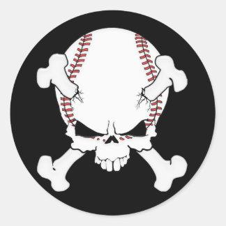 Crâne de base-ball sticker rond