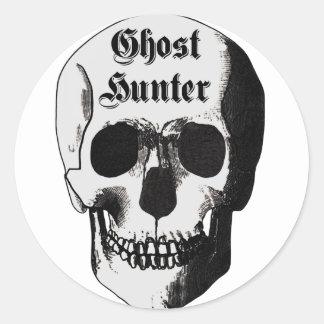 Crâne de chasseur de fantôme autocollant rond
