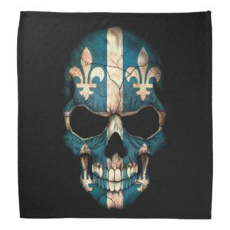 Crâne de drapeau du Québec sur le noir Bandanas