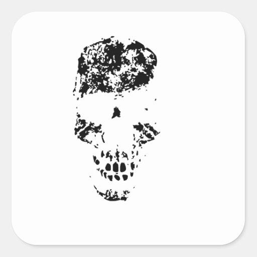 Crâne de fantôme autocollant carré