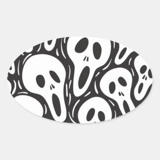 Crâne de fantôme sticker ovale