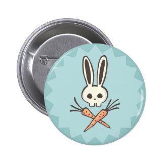 Crâne de lapin de bande dessinée et bouton d'os cr pin's avec agrafe