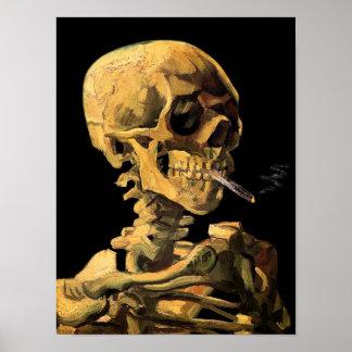 Crâne de Van Gogh avec la cigarette brûlante Affiche