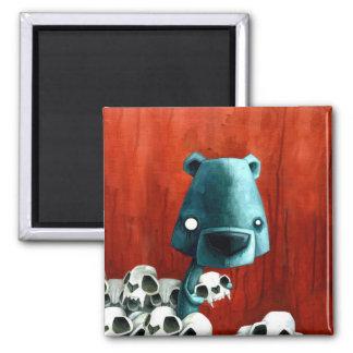 Crâne d'ours magnet carré