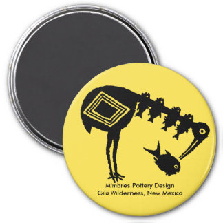 Crane Eating Fish - Mimbres Pottery Design Magnet