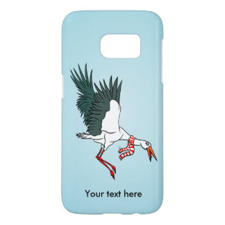 Crane Flying Wearing A Red And White Scarf Samsung Galaxy S7 Case