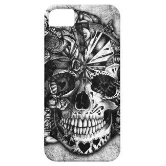 Crâne grunge de sucre de sucrerie en noir et blanc coques iPhone 5