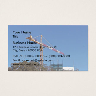 Crane in construction business card