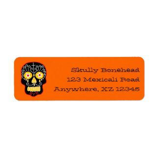 Crâne noir personnalisable de sucre étiquettes d'adresse retour