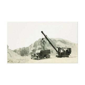 Crane Operator Crane Loading Truck Vintage antique Canvas Print