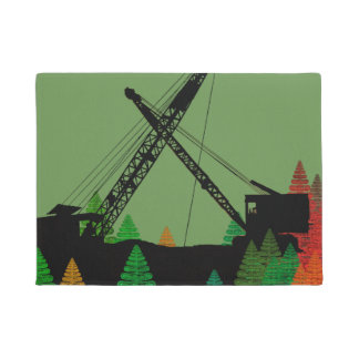 CRANE OPERATOR FALL COLORS VINTAGE CRAWLER CRANE DOORMAT