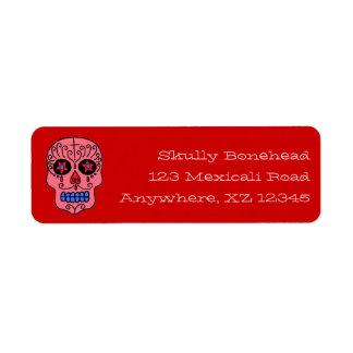 Crâne personnalisable de sucre étiquette d'adresse retour