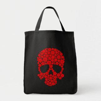Crâne rouge de fleurs sauvages sac en toile épicerie