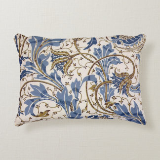 Crane's Pomegranate and Teazle in Blue Decorative Pillow