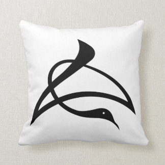 Crane-shaped kanji characters for Cho Throw Pillow
