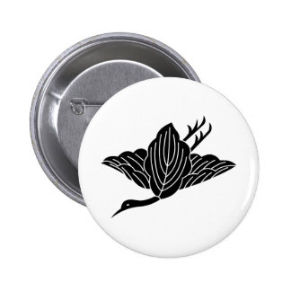 Crane-shaped oak leaves 2 inch round button